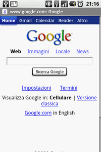 Android e il Browser integrato Chrome Lite