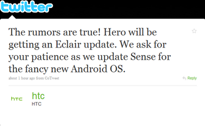 News per l'Htc Hero: Eclair Arriverà