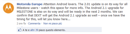 Motorola annuncia l'arrivo imminente dell'update di Milestone a 2.0.1 e 2.1