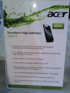 Acer liquid e: il liquid va ad android 2.1 [Con Video]
