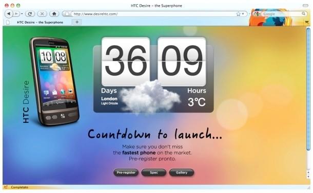 HTC Desire, ecco il sito ufficiale