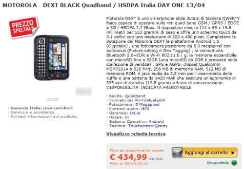 Motorola DEXT in vendita su ePRICE a 435€
