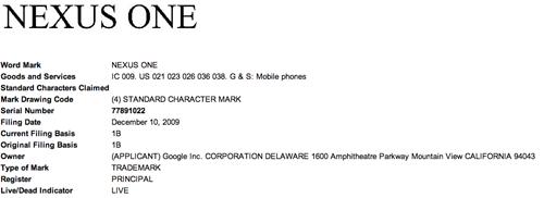 Google incappa in un problema con il marchio Nexus One