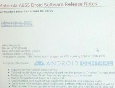 Motorola Droid: il 18 marzo, l'aggiornamento ad Android 2.1