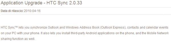 Rilasciato HTC Sync 2.0.33, ora con supporto a Desire e Legend