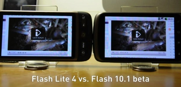 Nexus One e HTC Desire - Flash 10.1 beta VS Flash lite 4