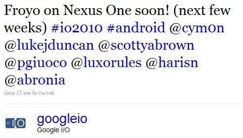 Nexus One, Froyo in arrivo nelle prossime settimane