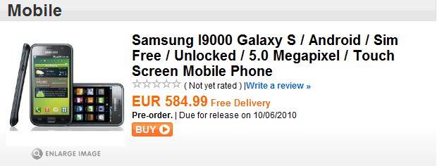Samsung Galaxy S in pre-ordine su Play.com a 585€