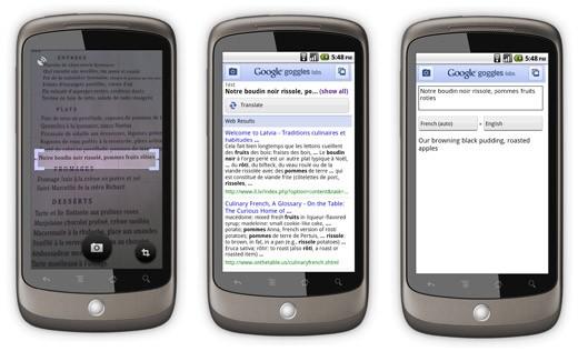 Google Goggles si aggiorna e aggiunge la traduzione del testo