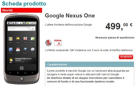 Nexus One disponibile sullo shop online di Vodafone Italia