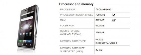 Motorola Milestone XT720 ottiene un aggiornamento hardware: CPU a 720Mhz e 512MB di RAM