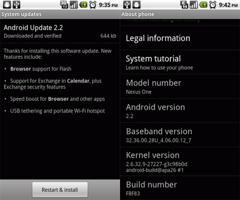 Nexus One, arriva l'aggiornamento ufficiale a Froyo 2.2