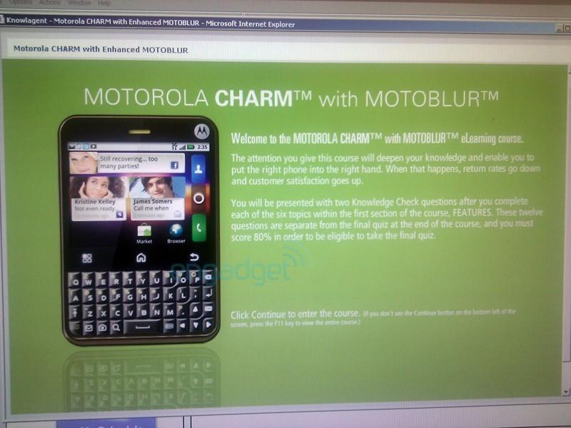 Motorola Charm, il nuovo terminale della casa alata