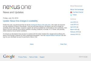 Fine della commercializzazione di NEXUS ONE da parte di GOOGLE!!