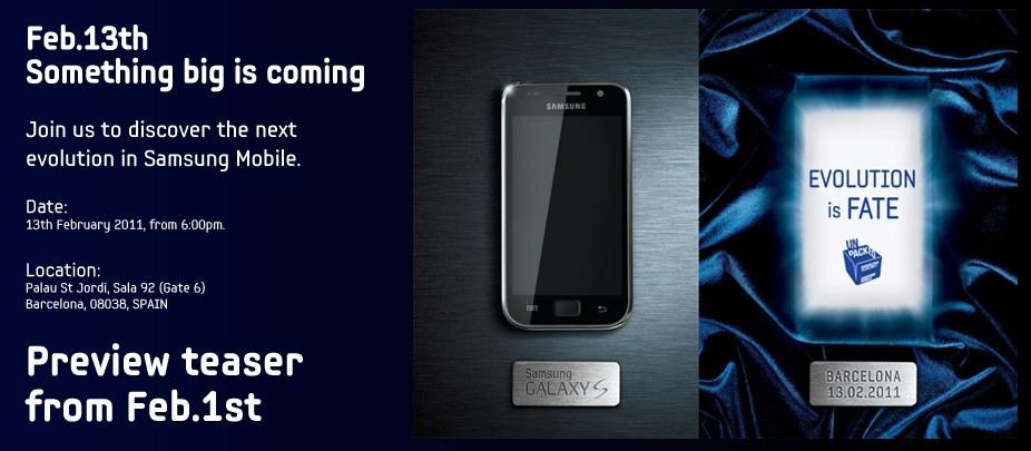 Ufficiale: Il successore del Galaxy S sarà presentato il 13 Febbraio