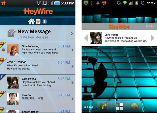 HeyWire Free SMS Worldwide: l'unica applicazione che permette di inviare SMS gratuiti ed illimitati verso tutti!