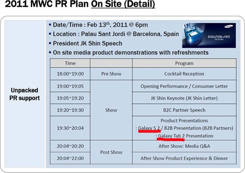 Svelato il programma di Samsung per il MWC 2011