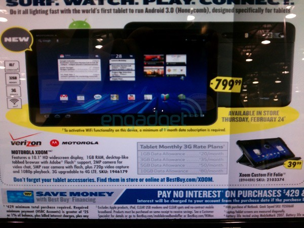 Motorola Xoom, prezzo di 799$ con Best Buy