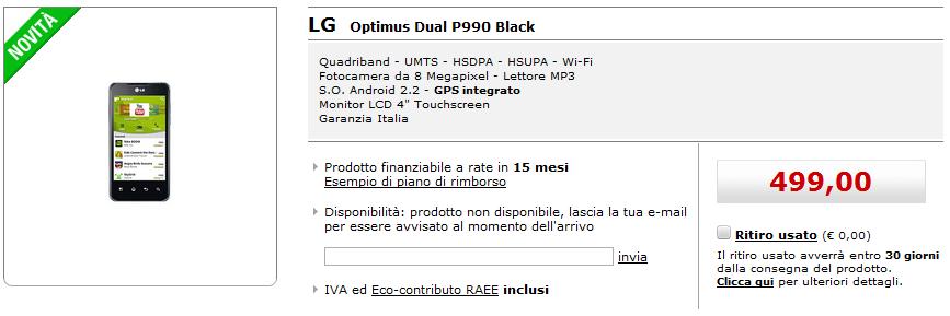 LG Optimus Dual arriva sul sito di MediaWorld