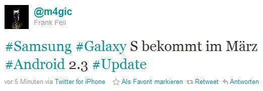 Samsung Galaxy S, aggiornamento ad Android 2.3 Gingerbread imminente? [AGGIORNATO: In arrivo la versione 2.2.1]