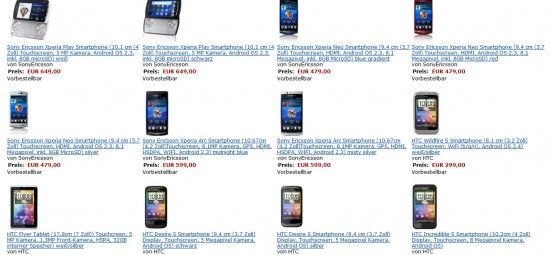 Amazon apre i pre-ordini di Xperia Play, Xperia Arc, Xperia Neo, Wildfire S, Desire S e Incredible S