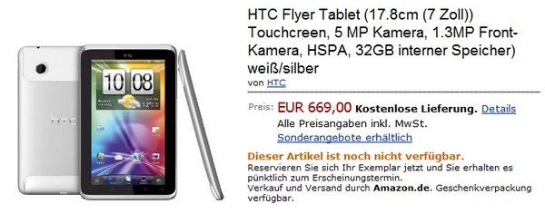 HTC Flyer su Amazon.de a 669€