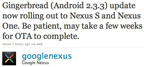 Android 2.3.3, iniziato il rilascio per Nexus S e Nexus One
