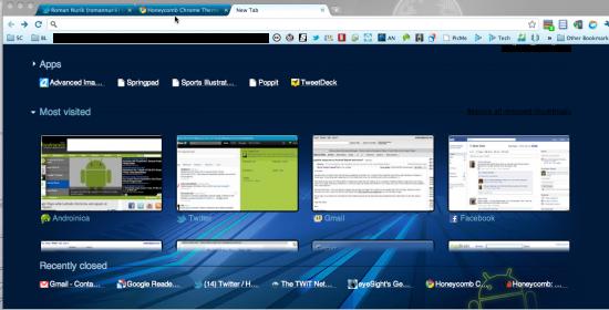 Honeycomb Chrome Theme, tema per Google Chrome ispirato ad Android 3.0 (Download)