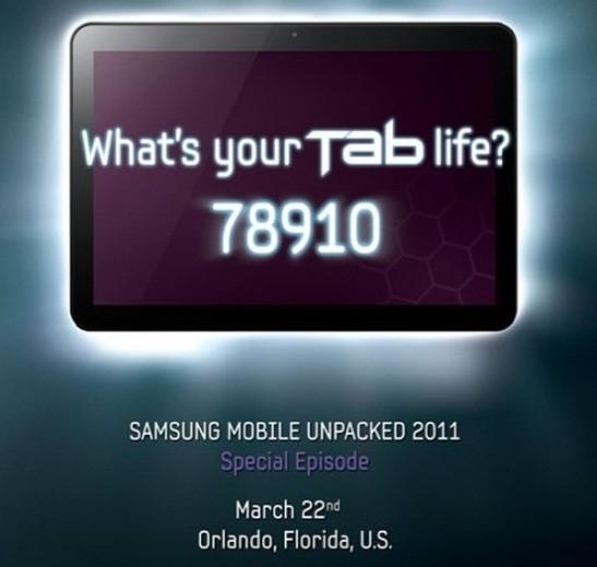 Samsung, nuovo evento Galaxy Tab per il 22 Marzo