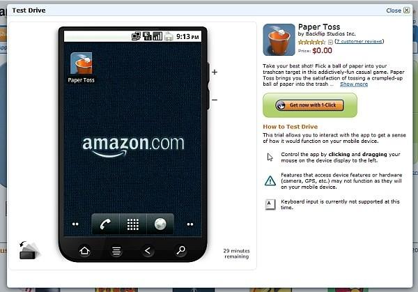 L'Amazon AppStore permette di provare le applicazioni direttamente dal browser prima di acquistarle