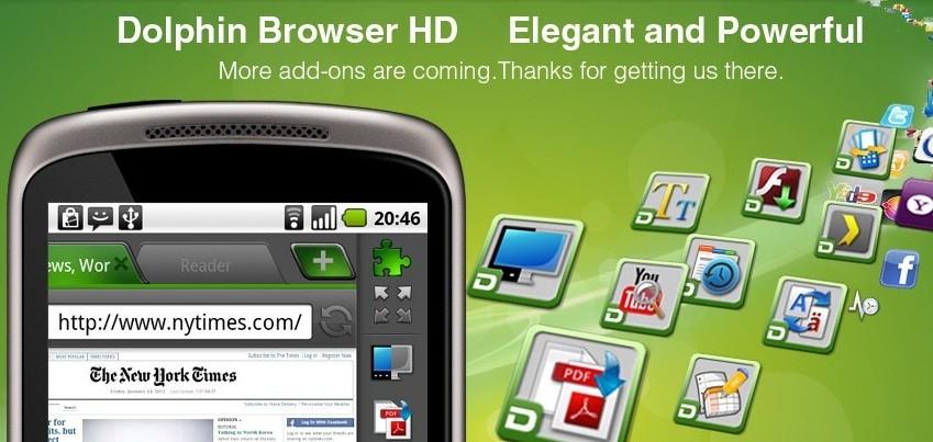 Dolphin Browser HD si aggiorna alla versione 4.5.0 con il supporto all'accelerazione hardware per Honeycomb