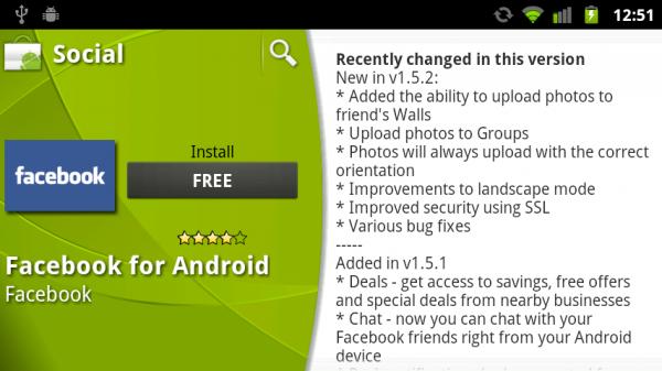Facebook per Android si aggiorna alla versione 1.5.2