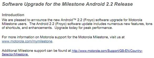 Iniziato il rilascio di Android 2.2 Froyo per il Motorola Milestone
