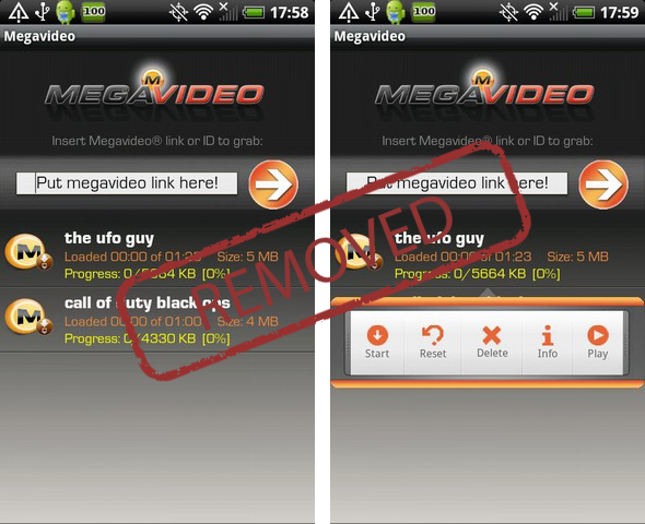 Megavideo per Android rimossa (momentaneamente) dal Market