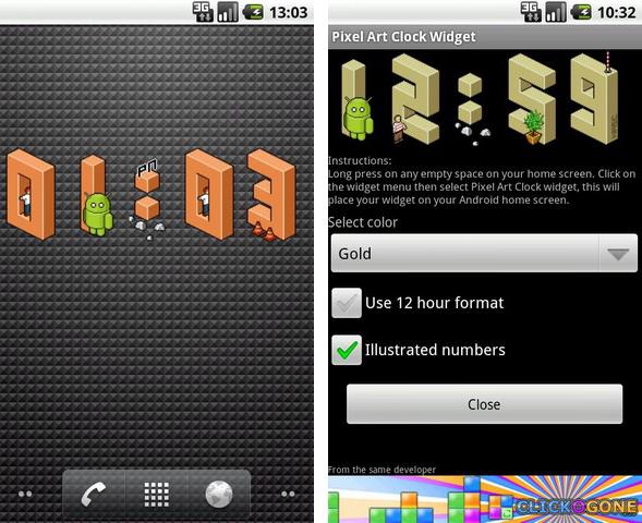 Pixel Art Clock Widget, un orologio Android in pixel art