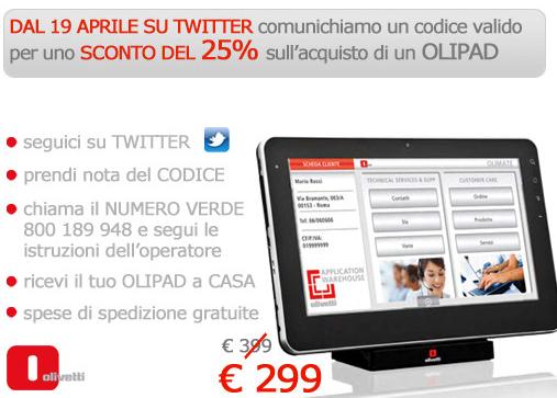 Olivetti Olipad: domani a 299 euro, solo via Twitter
