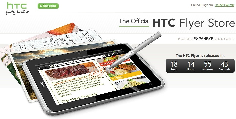 HTC Flyer Store - Preregistrazione e News del nuovo tablet HTC