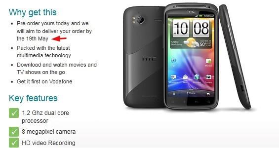 HTC Sensation in pre-ordine con Vodafone UK, consegna dal 19 Maggio
