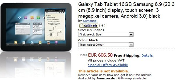Samsung Galaxy Tab 8.9 su Amazon.de a 606 euro [AGGIORNATO]