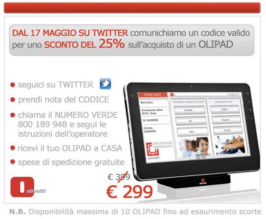 Olivetti Olipad, riparte la promozione: domani a 299€ via Twitter