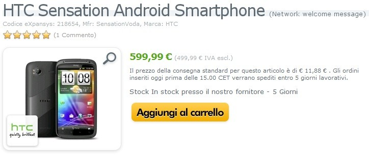 HTC Sensation disponibile a 599.99 euro su Expansys