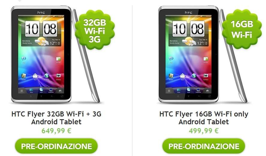 HTC Flyer: ecco i prezzi ufficiali!