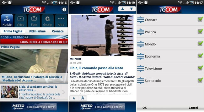 TGCOM, disponibile gratuitamente l'applicazione per Android