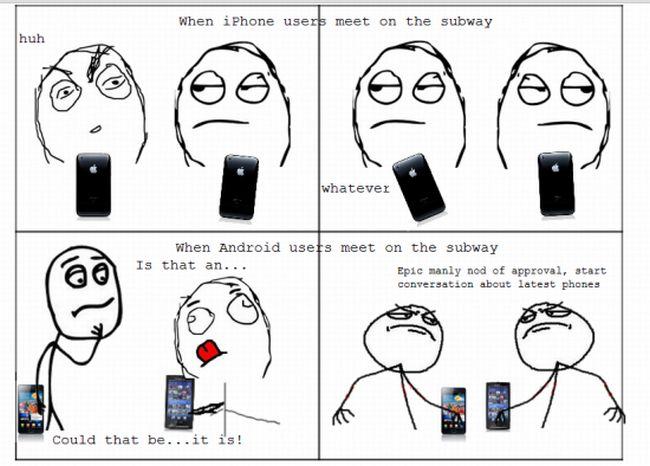 [Humor] L'incontro degli utenti iPhone e Android, in metropolitana
