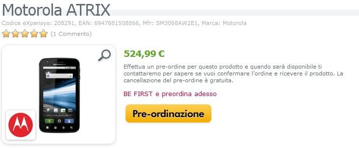 Motorola Atrix in arrivo in Italia