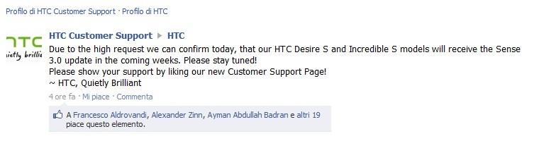 HTC conferma Sense 3.0 per Desire S e Incredible S [AGGIORNATO: No]