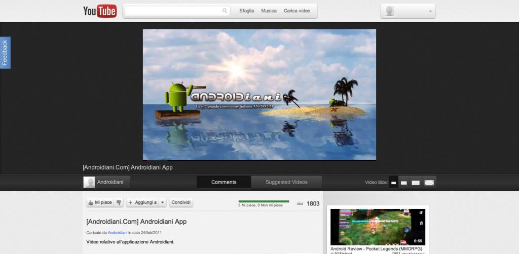 Nuova interfaccia anche per Youtube