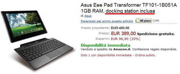 Sottocosto per Asus Eee Pad Transformer su Amazon.it