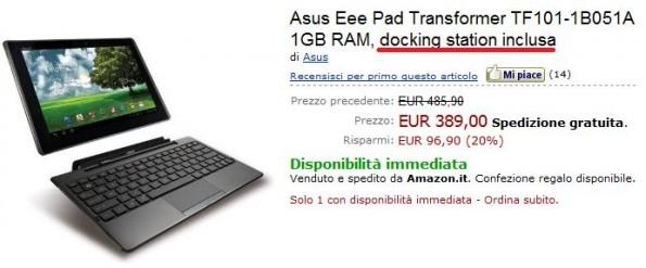 Sottocosto per Asus Eee Pad Transformer su Amazon.it