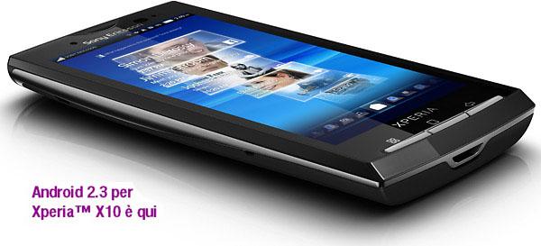 Sony Ericsson Xperia X10: Android 2.3.3 è disponibile! [AGGIORNATO]